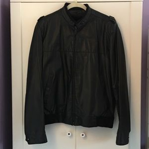 London Fog Black faux leather bomber jacket | 40
